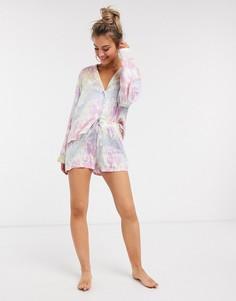 Пижама с шортами и принтом тай-дай ASOS DESIGN-Мульти
