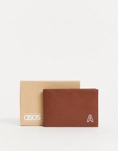 """Светло-коричневый кожаный кошелек для карт с инициалом """"А"""" ASOS DESIGN"""