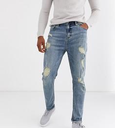 Суженные книзу голубые джинсы с рваной отделкой ASOS DESIGN Tall-Синий