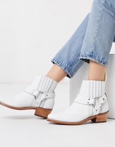Белые кожаные ботинки на каблуке в стиле вестерн Grenson-Черный