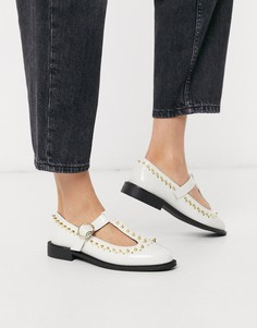 Бежевые туфли с заклепками ASOS DESIGN-Белый