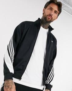 Черная спортивная куртка с запахом и 3 полосками adidas Originals-Черный
