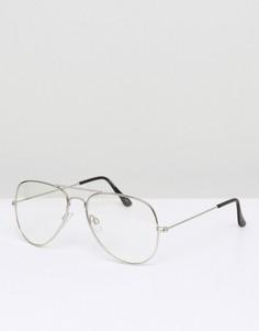 Очки-авиаторы в серебристой оправе с прозрачными линзами ASOS DESIGN-Серебряный