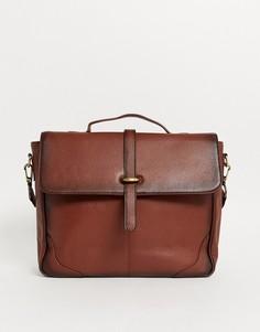 Коричневая кожаная сумка-сэтчел ASOS DESIGN-Коричневый