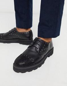Черные кожаные туфли Feud London-Черный