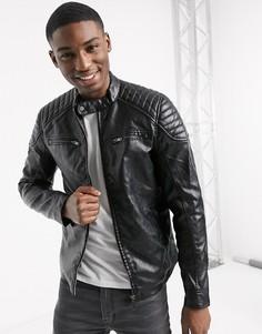 Черная байкерская куртка из искусственной кожи River Island-Черный