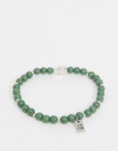 Зеленый браслет из бусин с подвеской-крестом Icon