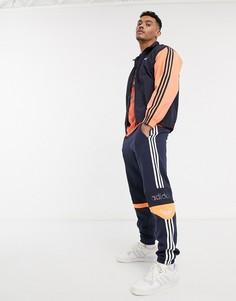 Темно-синяя олимпийка с контрастными рукавами adidas Originals-Темно-синий