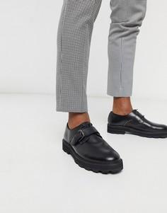 Черные кожаные туфли для широкой стопы Feud London-Черный