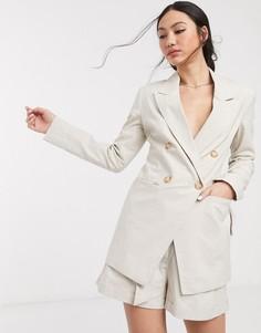 Льняной пиджак ASOS DESIGN ultimate-Светло-бежевый