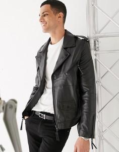Байкерская куртка из натуральной кожи с молниями и ремнем Barneys Originals-Черный