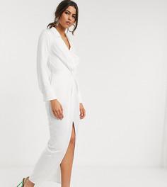 Платье макси с драпировкой и глубоким вырезом Flounce London-Белый