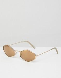 Коричневые солнцезащитные очки ASOS-Золотой