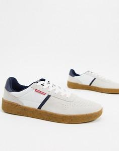 Белые замшевые кроссовки на каучуковой подошве Jack & Jones-Белый