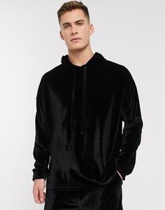 Черная велюровая пижама с oversized-худи и шортами ASOS DESIGN-Бежевый