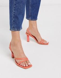Коралловые босоножки с квадратным носком и ремешками Z_Code_Z-Оранжевый