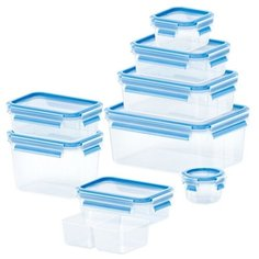 EMSA Набор контейнеров CLIP & CLOSE из 9 предметов 515481 голубой/прозрачный