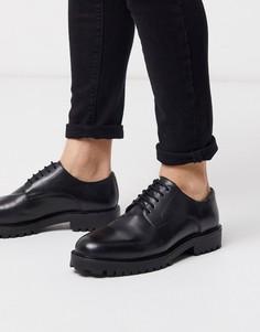 Черные кожаные туфли дерби Walk London-Черный
