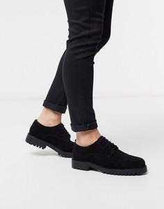 Черные замшевые туфли дерби Walk London-Черный