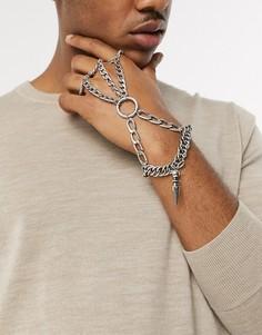 Серебристый браслет с шипами ASOS DESIGN-Серебряный