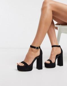 Черные босоножки на блочном каблуке и платформе ASOS DESIGN-Черный