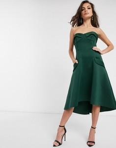 Платье-бандо миди для выпускного с чашечками и карманами ASOS DESIGN-Зеленый