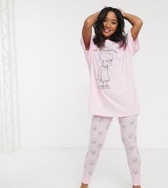Леггинсы и футболка с принтом Лизы Симпсон ASOS DESIGN Petite-Розовый
