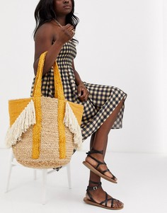 Пляжная соломенная сумка с бахромой America & Beyond-Желтый