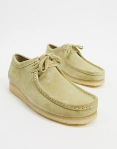 Бежевые замшевые туфли Clarks Originals-Бежевый
