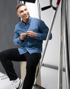 Синяя джинсовая рубашка Esprit-Синий