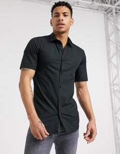 Черная рубашка с короткими рукавами Only & Sons-Черный