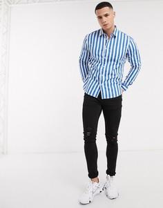 Синяя рубашка в полоску с длинными рукавами Esprit-Синий