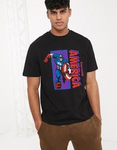 """Свободная футболка с принтом """"капитан Америка"""" ASOS DESIGN Marvel-Черный"""