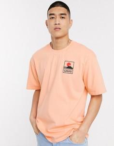 Персиковая футболка с принтом горы Фиджи Edwin-Оранжевый