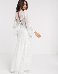 Свадебное платье с пышными рукавами на манжете и вышивкой ASOS EDITION-Белый