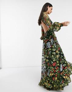 Летнее платье макси с цветочной вышивкой и открытой спиной ASOS EDITION-Мульти