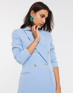Двубортное синее платье-пиджак Stradivarius-Синий