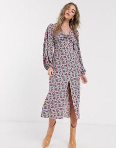 Платье миди с цветочным принтом и перекрученной отделкой спереди Topshop-Мульти