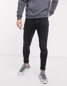 Черные выбеленные джинсы скинни с напылением River Island-Черный
