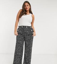 Черные широкие брюки из ткани букле River Island Plus-Черный