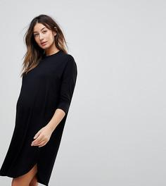 Платье-футболка в стиле oversize ASOS DESIGN Maternity-Черный