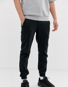 Черные брюки карго с манжетами Jack & Jones Intelligence-Черный