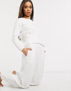 Домашние спортивные брюки с необработанным краем ASOS DESIGN-Белый