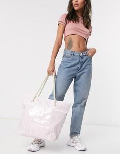 Розовая/белая пляжная сумка с веревочными ручками SVNX-Розовый