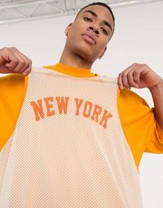 Длинная oversized-футболка с принтом ASOS DESIGN-Оранжевый