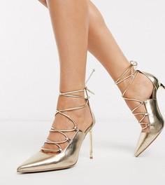 Золотистые туфли-лодочки для широкой стопы ASOS DESIGN-Золотой