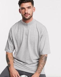 Серая меланжевая футболка с высоким воротом и короткой молнией Threadbare-Серый