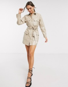 Бежевое платье из искусственной кожи в стиле милитари с пуговицами In The Style x Stephsa-Бежевый