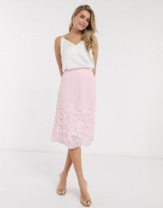 Розовая юбка миди из тюля Chi Chi Vida-Розовый