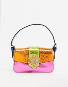 Кожаная сумка с эффектом металлик Kurt Geiger London-Мульти